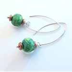 Tamar Green glass and sterling silver earrings by Sasha and Max