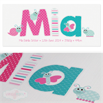 {TEAL & PINK CUTE BUGS} Personalised Door Sign ~ Custom Name Plaque 28x12cm