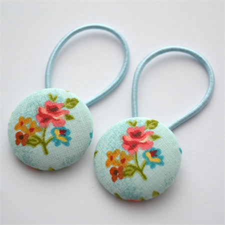 Button Hair Ties - blue floral