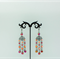Black, Red and Orange Chandelier Earrings