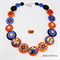 Monster - Blue Orange - Buttons Necklace - Jewellery - Bonus Earrings