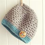 baby beanie | pure wool crochet hat | grey & aqua 6-18 months