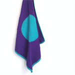 'Mono-Spot' Modern Crochet Baby Blanket - Purple and Aqua