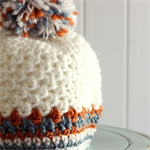 newborn beanie | crochet | pom pom hat | cream orange teal