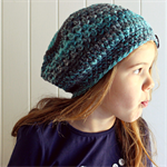 crochet beanie | slouchy style | boy or girl | grey aqua alpaca wool
