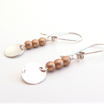 Petite Moon sterling silver and gold bead drop earrings by Sasha + Max