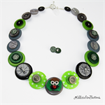 Grumpy  Grouch - Green - Buttons Necklace - Jewellery - Bonus Earrings