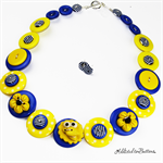 Sunshine Happy Bird - Yellow - Buttons Necklace - Jewellery - Bonus Earrings