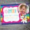 Rainbow Unicorn Stars Birthday Invitation Printable #B0028