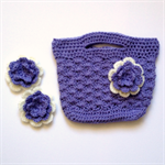 Girl's Crocheted Bag and Hair Clips Set ~ Lilac