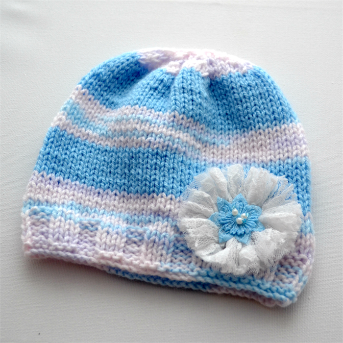 5be9ae617 Baby Girl Hand Knitted Beanie - light blue & white, size 6 - 12 ...