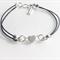 Silver heart charm bracelet, leather charm bracelet