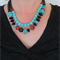 Eclectic Turquoise, red and Glass double strand necklace by Sasha and Max Studio