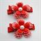 Red Flower Hair Clip Pair