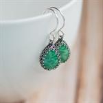 Jade Green Vintage Glass Jewel Earrings. Handmade Silver-filled Earwires