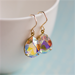 Sparkly Golden Earrings. Vintage Glass Jewels. Handmade goldfill earwires.