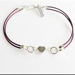 Silver heart charm bracelet, leather bracelet, statement bracelet