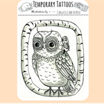 Owl temporary tattoo, girl riding owl