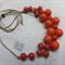 Orange Wood Beaded Necklace
