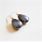 Black and Grey. Vintage Glass Jewel earrings. Gold vermeil Earwires