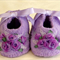 Hand Embroidered Baby Booties with Lavender Roses