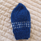 Size 2-4 Yrs hand knitted beanie in blue & white with metallic thread: Washable