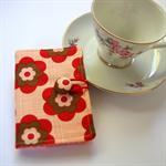 Tea Bag Wallet - Red & Brown Boho Flowers