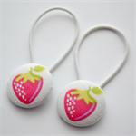 Button Hair Ties - pink strawberries