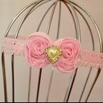 Pink Bow Headband, size 6 months - 3 yrs