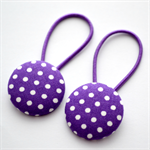 Button Hair Ties - purple polka dot