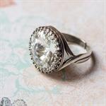 Statement Ring. Vintage Swarovski Crystal. Silver
