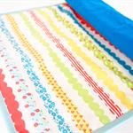 Portable Baby Change Mat - Bubble Stripe Waterproof Nylon + Blue Organic Cotton