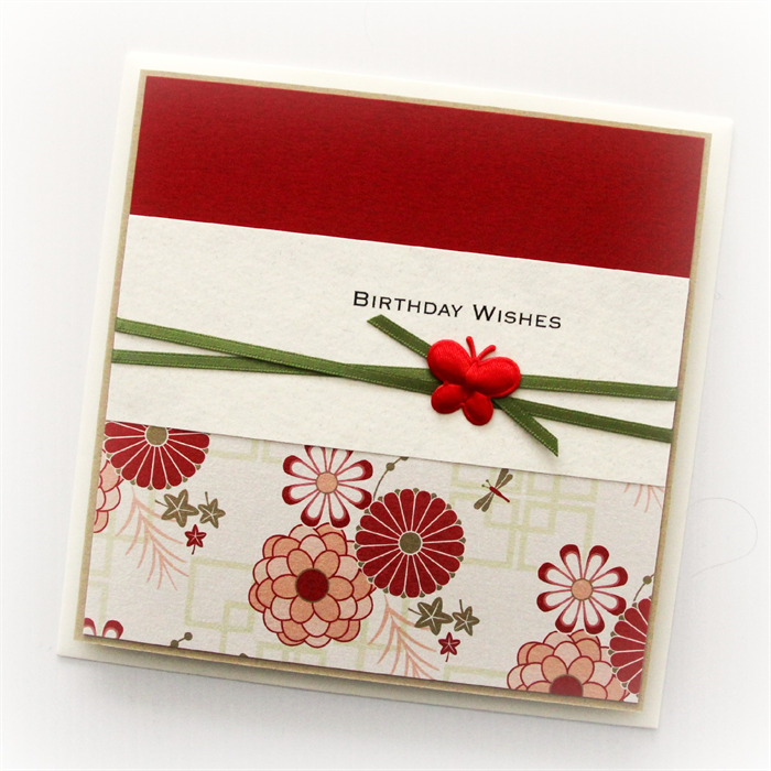 Birthday card for her oriental red handmade the little card boutique
