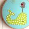 sleepy whale | baby hoop art |  nursery textile decor | aqua blue lime green