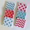 Coral & Mint Coasters - 6 Ceramic Tile Drink Coasters Chevron Quatrefoil Circles