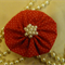 Hair Domayne Red Hairclip with White Spots Design and Pearls in Centre