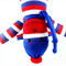 'Percy' the Sock Monkey (blue red and white stripes) - *ready to post*
