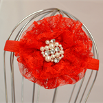 Lace Flower Headband - pink, red, white