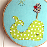 sleepy whale | baby hoop art |  nursery textile decor | aqua blue lime green