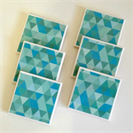6 Ceramic Tile Drink Coasters Geometric Triangles Aqua Mint
