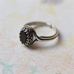 Jet Black Vintage Swarovski Crystal Ring