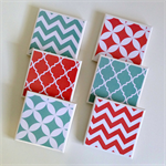 6 Ceramic Tile Drink Coasters Coral & Mint Geometric Chevron Quatrefoil Circle