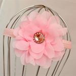 Pink Flower Headband, size 3yrs - teen