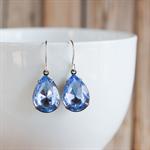 Sky Blue Earrings. Vintage Glass Jewels. Handmade silverfilled earwires.