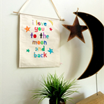 i love you to the moon and back wall hanging