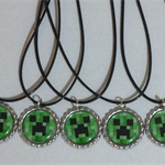 SET OF 10 minecraft creeper party favor bottlecap necklaces