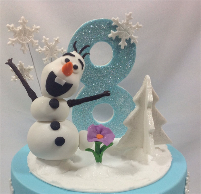 Frozen Scene Edible Sugar Cake Topperolaf Tree Flower Snowflakes