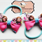 Pair of Frozen hair bows (Pink) Elastic/Tie