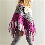 granny chic poncho | crochet | girls | pink grey purple
