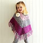 granny chic poncho   crochet   girls   pink grey purple   size 3 - 6 yrs